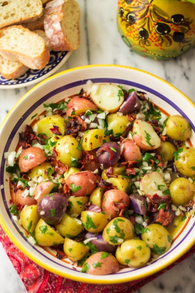 Confetti Baby Potato Salad With Bacon Olivia S Cuisine