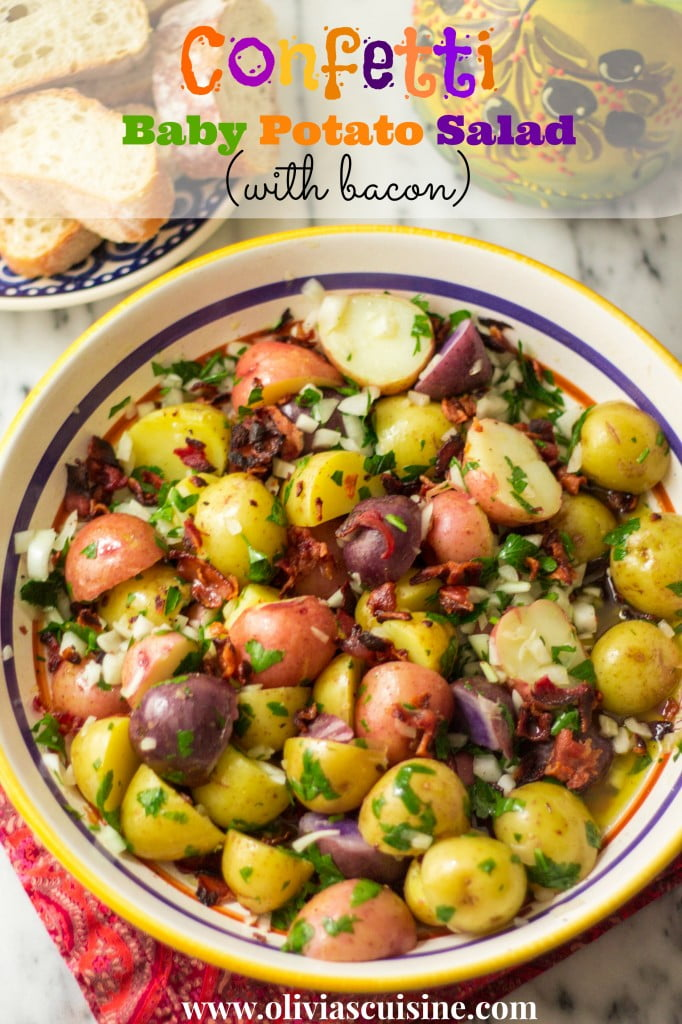 Confetti Baby Potato Salad (with bacon) | www.oliviascuisine.com