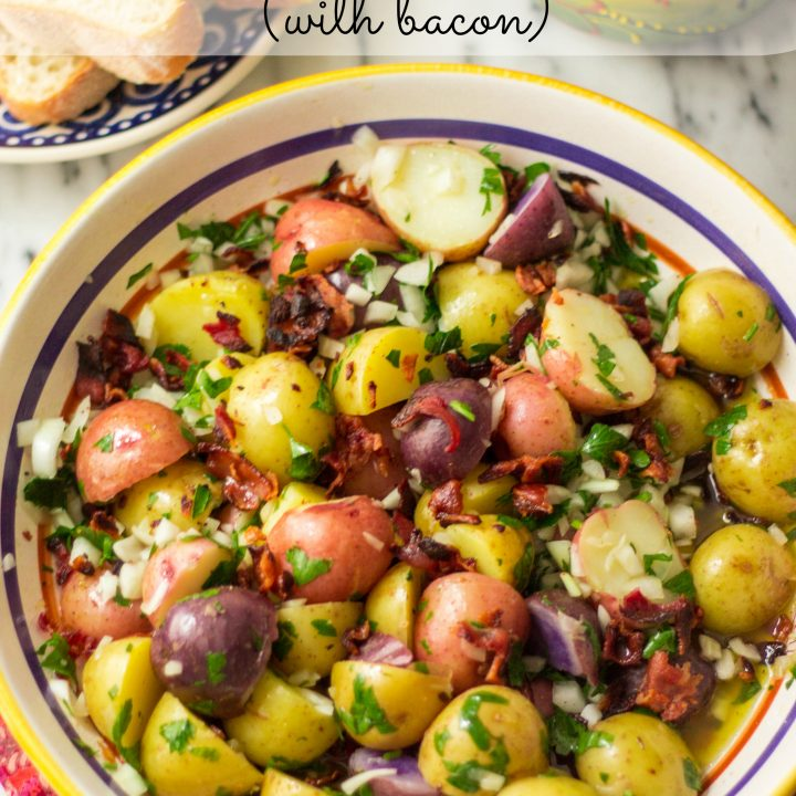 Confetti Baby Potato Salad (with bacon)