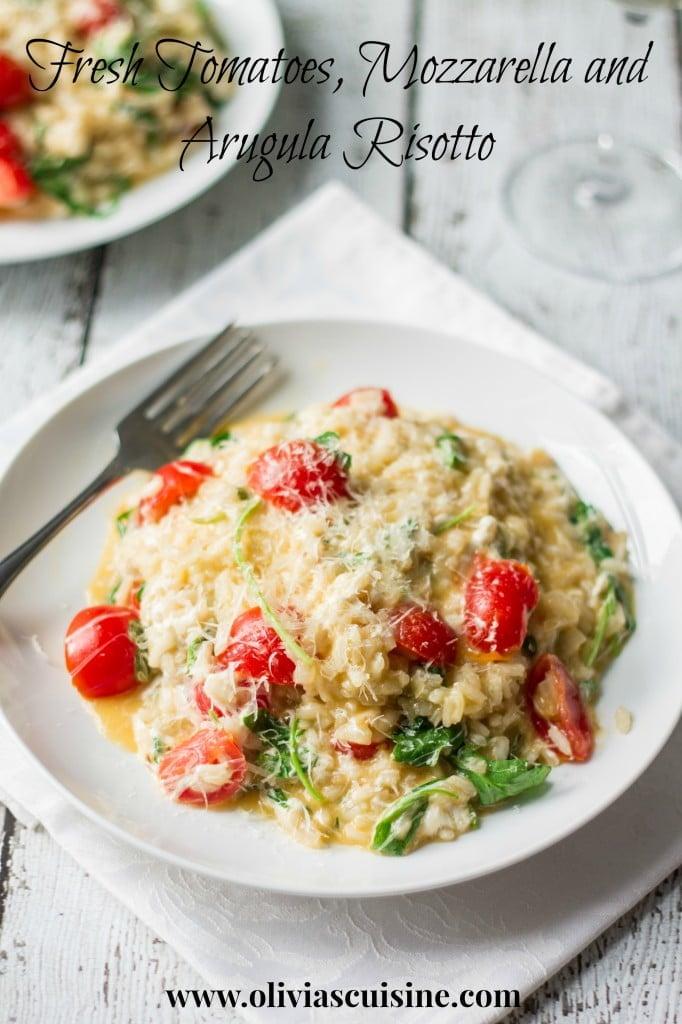 Fresh Tomatoes and Arugula Risotto   http://homemaderecipes.com/course/pastas-bread/14-risotto-recipes/