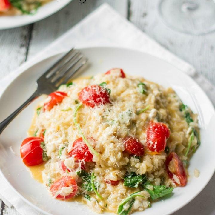 Fresh Tomatoes and Arugula Risotto