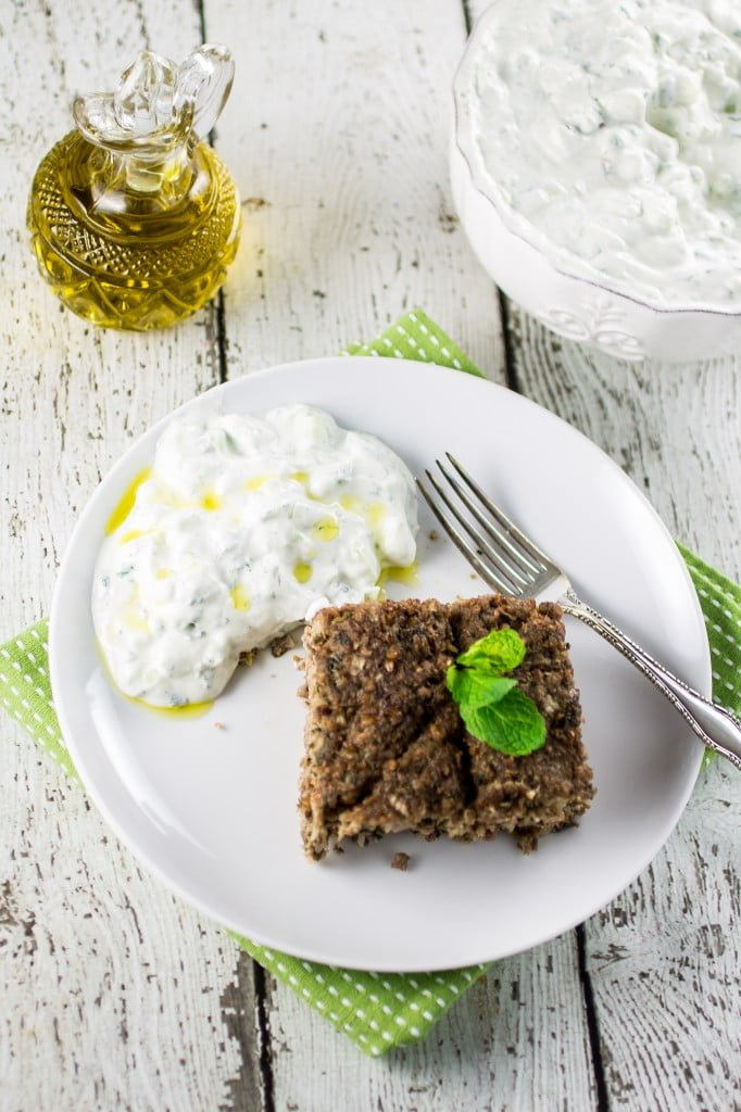 Baked Kibbeh (with Cucumber Yogurt Dip) | www.oliviascuisine.com