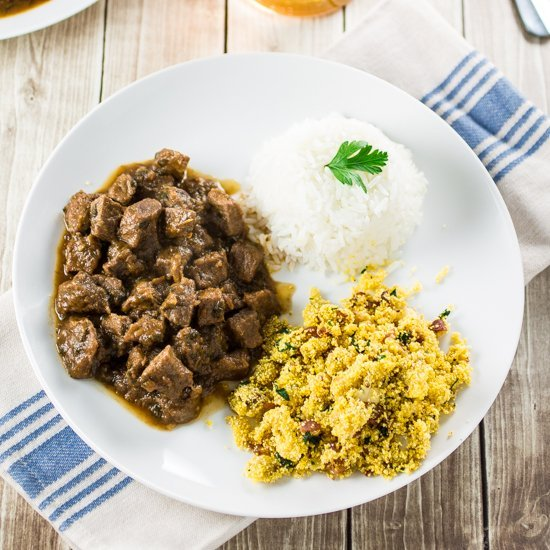 Brazilian Beef Stew (Picadinho) with Banana Farofa