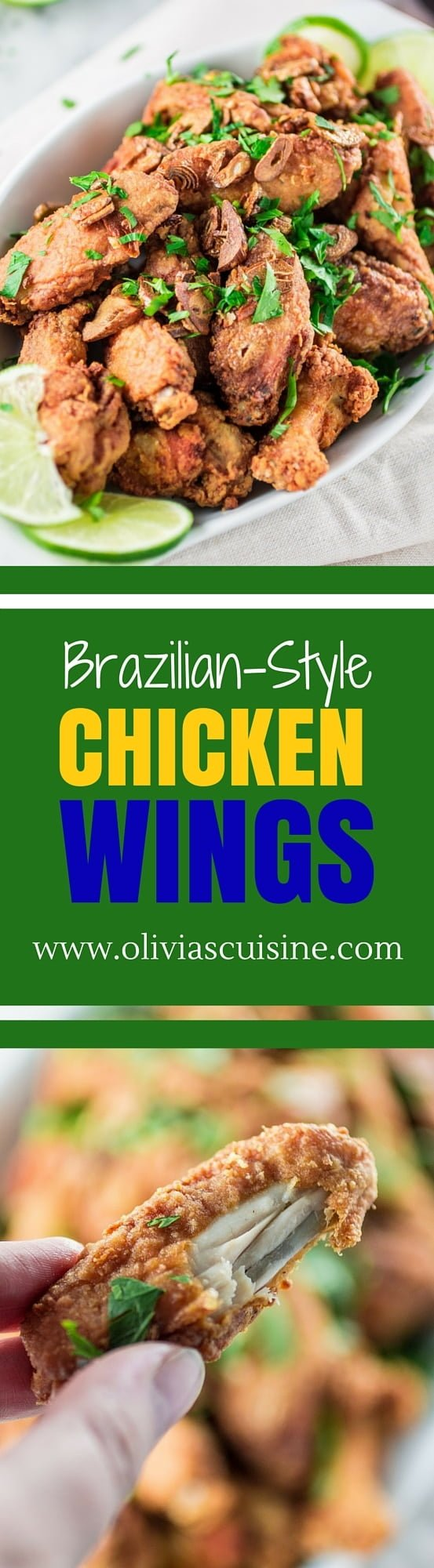 "Brazilian Style Chicken Wings | www.oliviascuisine.com | Crunchy chicken wings, called ""Frango a Passarinho in Portuguese, that are so full of garlic and lime flavor. It is the most perfect game day food!"