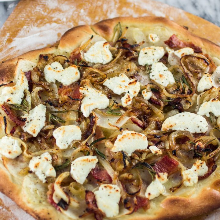 Potato, Bacon and Rosemary Pizza with Goat Cheese and Pecorino