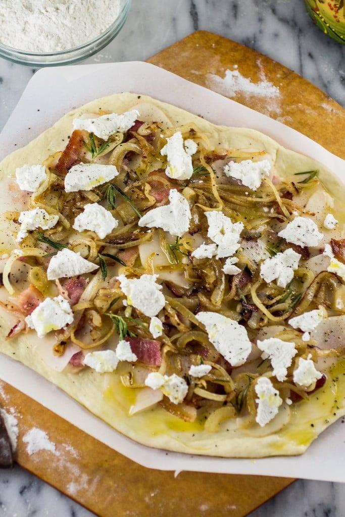 Potato, Bacon & Rosemary Pizza with Goat Cheese and Pecorino   www.oliviascuisine.com