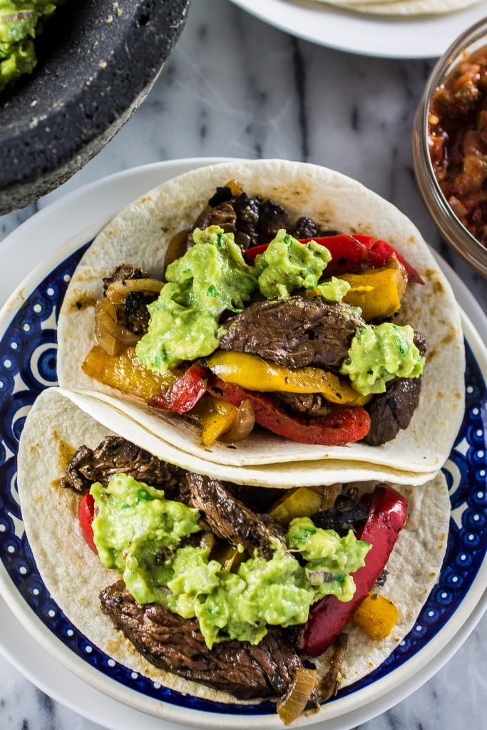 Skirt Steak Fajitas | www.oliviascuisine.com | Delicious Skirt Steak Fajitas marinated with Herdez Roasted Pasilla Chile, blueberry preserves, balsamic vinegar and tequila! Yum! (Sponsored by Herdez)
