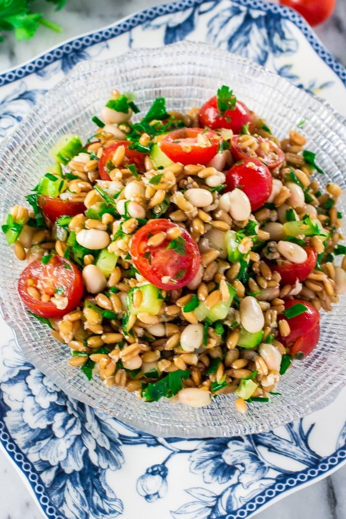 Spelt Salad with Navy Beans, Cherry Tomatoes and Cucumber | www.oliviascuisine.com | A refreshing Spring salad made with spelt, navy beans, cherry tomatoes and cucumber. Packed with protein and fiber, and perfect for Meatless Monday!