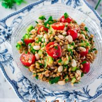 Spelt Salad with Navy Beans, Cherry Tomatoes and Cucumber