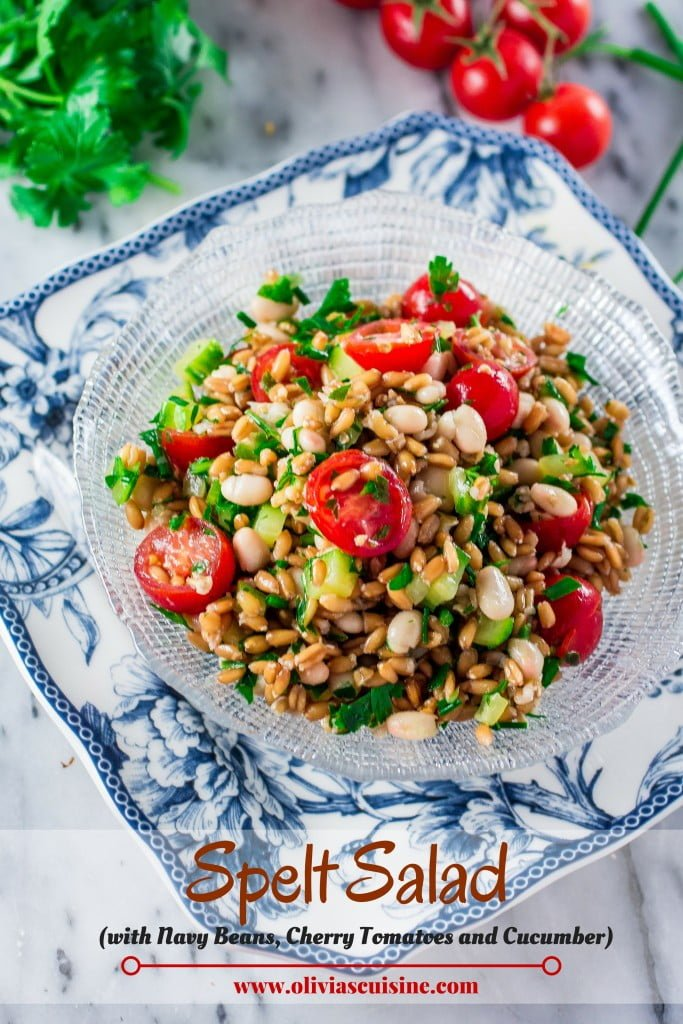 Spelt Salad With Navy Beans Cherry Tomatoes And Cucumber