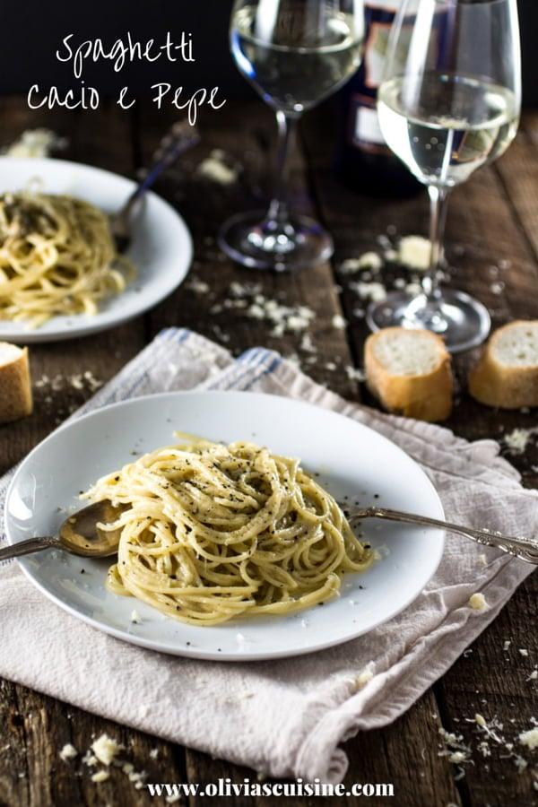 Spaghetti Cacio e Pepe | www.oliviascuisine.com | A traditional roman pasta dish made with Pecorino cheese, Parmigiano Reggiano, black pepper, spaghetti, butter, salt and pepper! And it's done in 20 minutes!