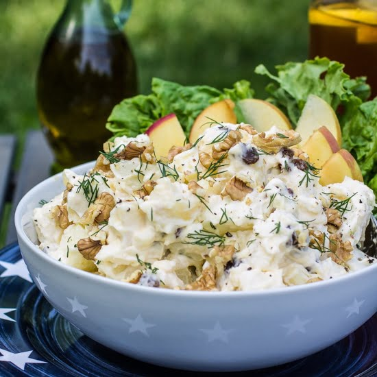 Creamy Potato Salad (with Apples, Raisins and Walnuts)