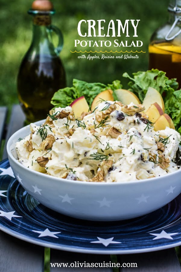 Creamy Potato Salad (with Apples, Raisins and Walnuts) | www.oliviascuisine.com | This Creamy Potato Salad will be a success at your picnic, barbecue or potluck!