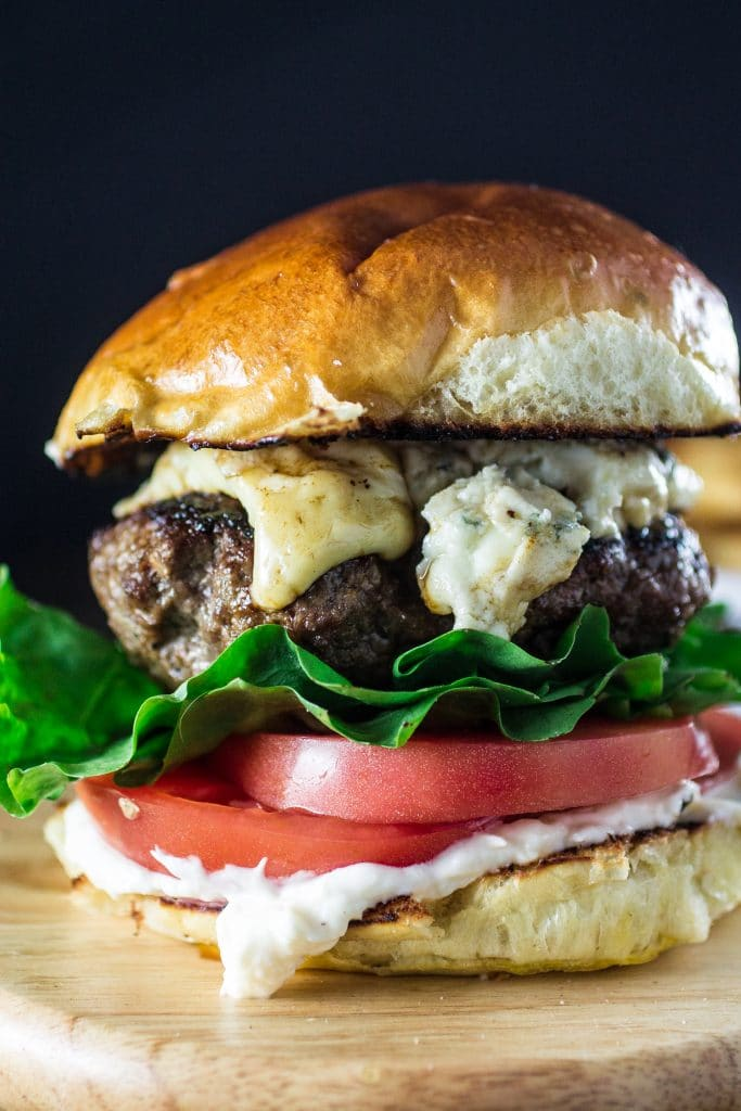 Blue Cheese Burger | www.oliviascuisine.com | A bold and scrumptious burger that will take your summer barbecue to the next level! Also perfect for Father's Day!