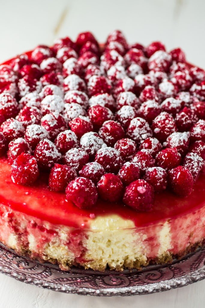 Classic Cheesecake with Raspberry Sauce | www.oliviascuisine.com