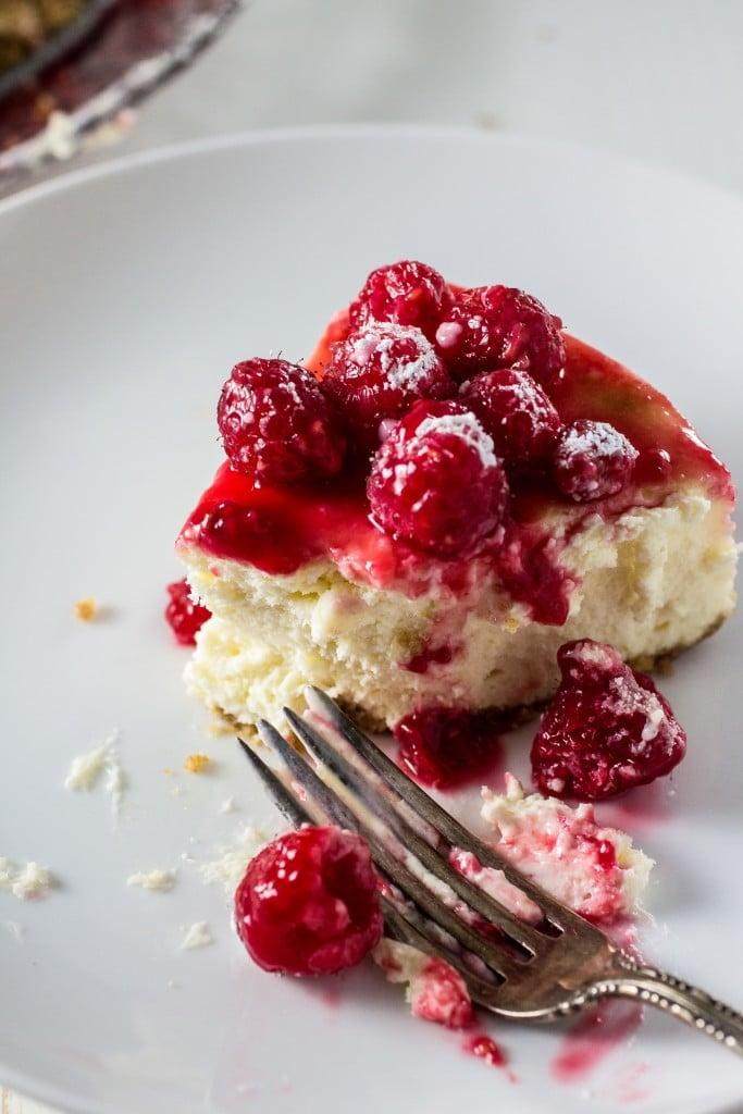 Classic Cheesecake with Raspberry Sauce | www.oliviascuisine.com