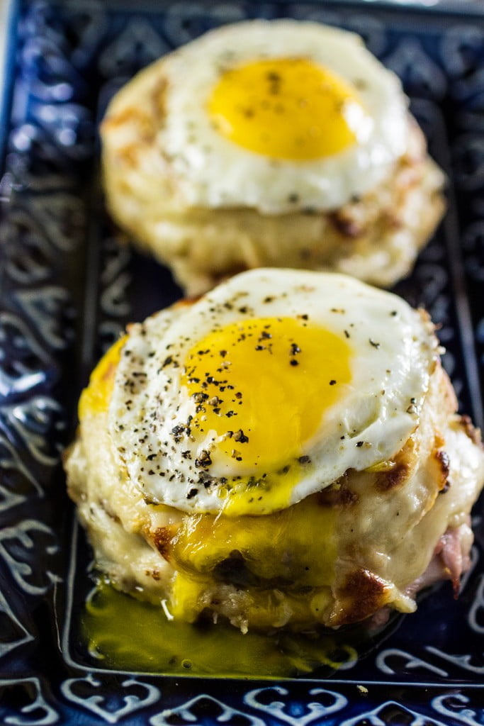 Croque Madame Brunch Sandwiches | www.oliviascuisine.com | A variation of the Croque Monsieur: ham and Gruyere cheese with Mornay sauce, with an egg on top!