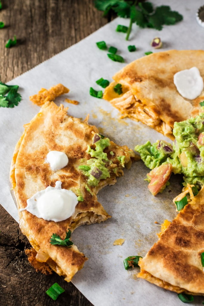 Easy Chicken Quesadilla | www.oliviascuisine.com | Cinco de Mayo is here and this quesadilla will be the star of the fiesta! Creamy, cheesy and full of flavor!