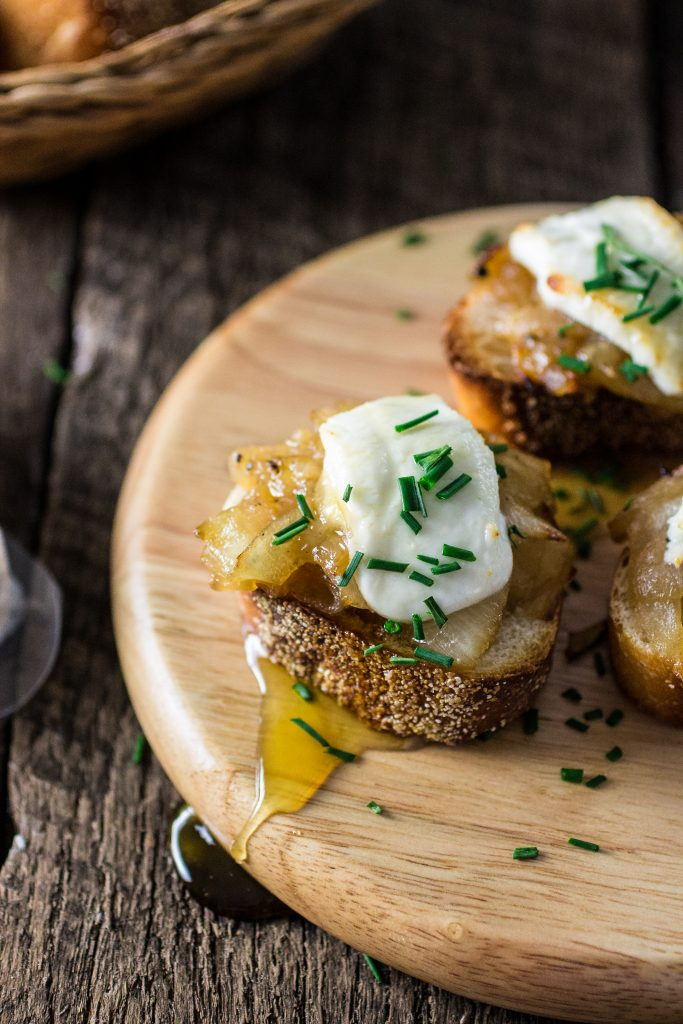Goat Cheese, Caramelized Onions and Truffled Honey Crostini | www.oliviascuisine.com | The perfect appetizer for your brunch or summer party!