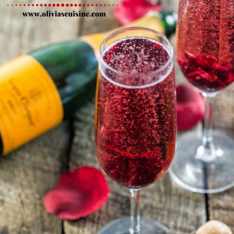 Hibiscus Champagne Cocktail | www.oliviascuisine.com | A delicious and simple brunch cocktail for Mother's Day or Valentine's Day!