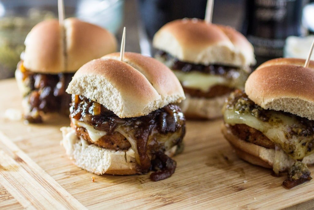 Veggie Pub Sliders | www.oliviascuisine.com | Veggie sliders made pub style with caramelized onions with Guinness beer, a vegan tapenade and gooey smoked provolone that can be left out for a vegan version! #gardein  #meatless #recipe #healthy