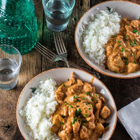 Chicken Stroganoff | www.oliviascuisine.com | A russian inspired dish, made with sautéed chicken, onions, Dijon mustard, ketchup, crushed tomatoes and and Brooklyn Creamery's Double Cream! #sp