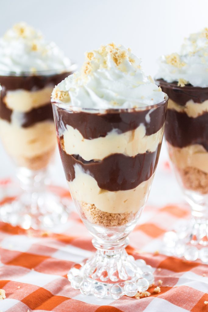 Chocolate Pudding Dessert Parfait | www.oliviscuisine.com | It is the Summer of Pudding and we're celebrating with these adorable dessert parfaits made with Kozy Shack's chocolate pudding, cream, whipped cream and cashew crumble! So delicious! #sp