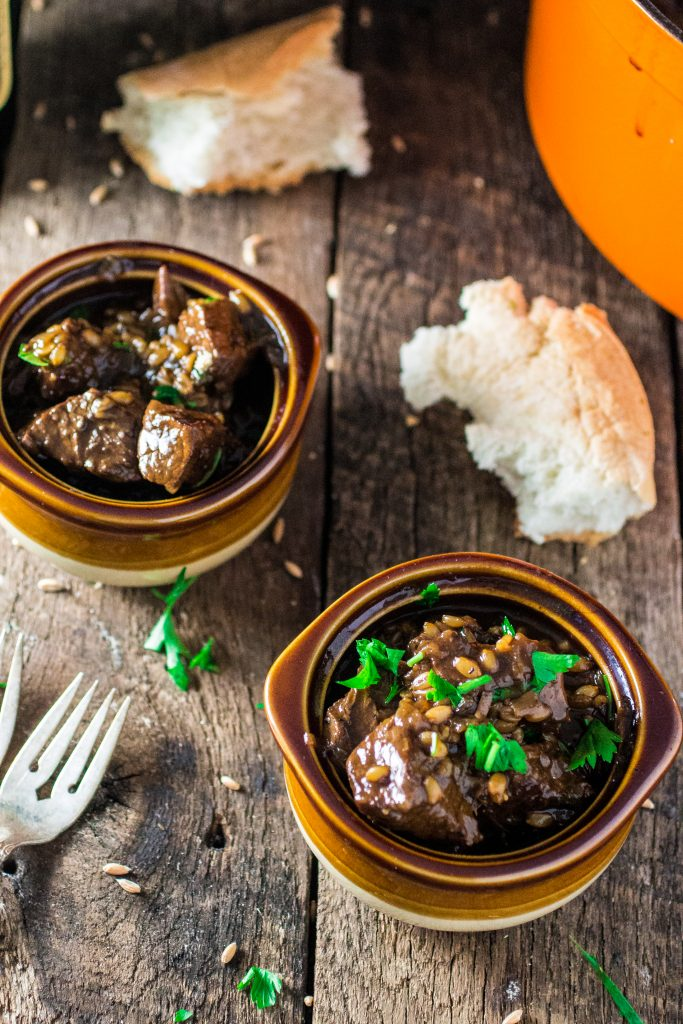 Flemish Beef Stew with Caramelized Onions and Spelt Berries | www.oliviascuisine.com | A comforting beef stew that is extra fulfilling with the addiction of spelt berries! Plus a review of the cookbook Simply Ancient Grains!