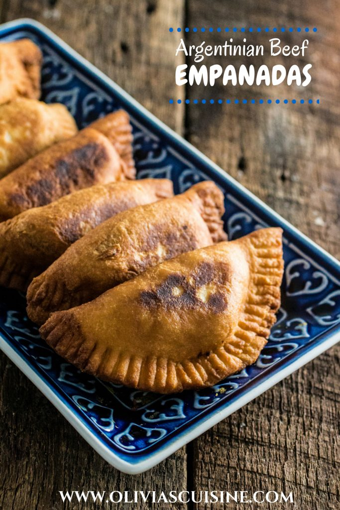 Argentinian Beef Empanadas | www.oliviascuisine.com | Delicious Argentinian Empanadas filled with ground beef, onions, garlic, tomatoes, peppers, olives and seasoned with paprika and cumin!