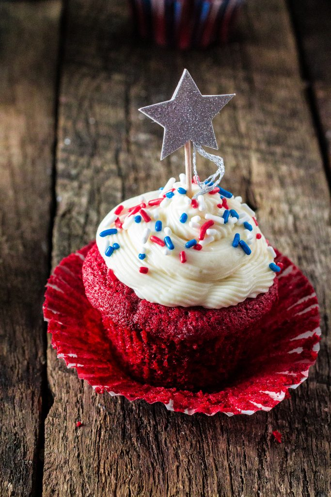 Patriotic Red Velvet Cupcakes | www.oliviascuisine.com | Celebrate 4th of July with these delicious Patriotic Red Velvet Cupcakes! So moist and velvety, with a yummy cream cheese frosting.