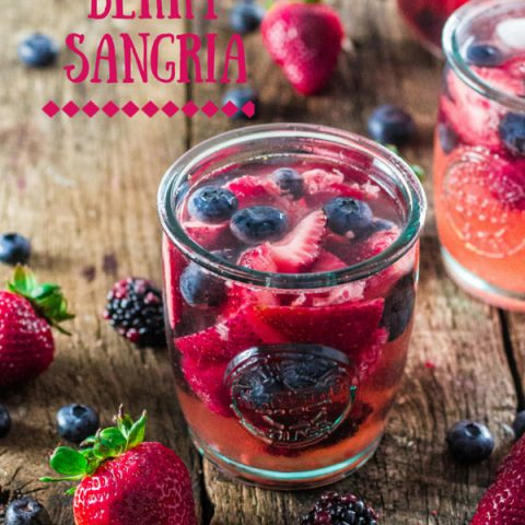Summer Berry Sangria | www.oliviascuisine.com | A delicious summer sangria made with Moscato, strawberries, raspberries, blackberries and blueberries! #MiddleSister #DropsofWisdom #Sp