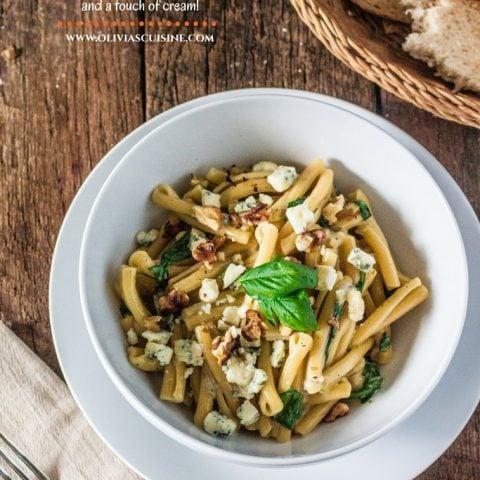 Casarecce Siciliane with Gorgonzola, Walnuts, Arugula and a touch of cream!