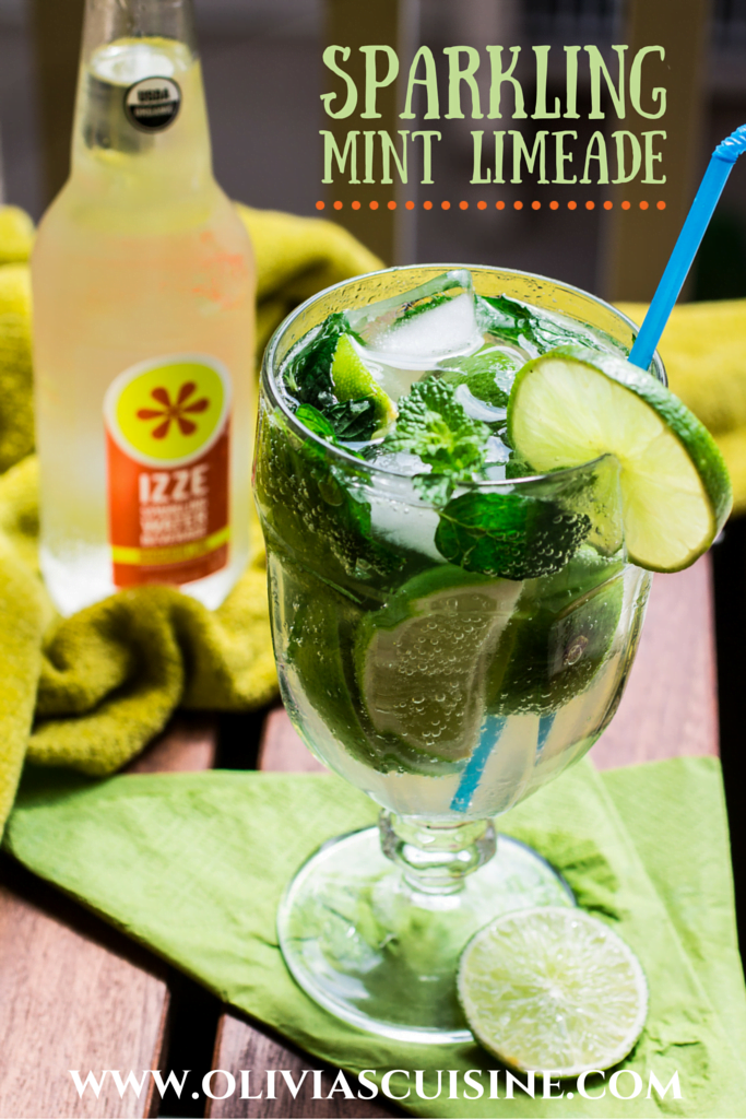 Sparkling Mint Limeade | www.oliviascuisine.com | Because life is so much better when it's bubbly! #SparkleBrightly #TryIZZE