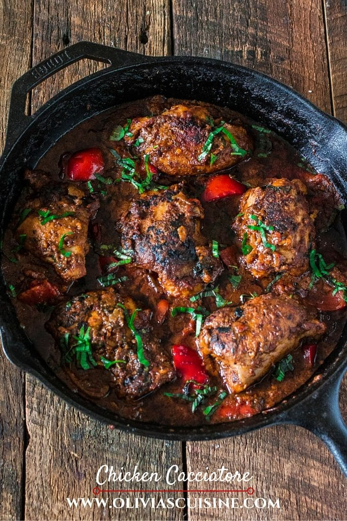 Chicken Cacciatore | www.oliviascuisine.com | Spend less time in the kitchen and more time at the table with your family and friends by making this easy and simple Chicken Cacciatore, using Mezzetta Napa Valley Homemade Marinara Sauce! #FallforFlavor #sp
