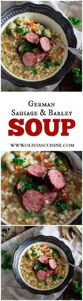 German Sausage and Barley Soup (Graupensuppe) | www.oliviascuisine.com | An easy and delicious soup recipe for the cold weather. Comfort food at its best! #OktoberOnTheFarm #ad