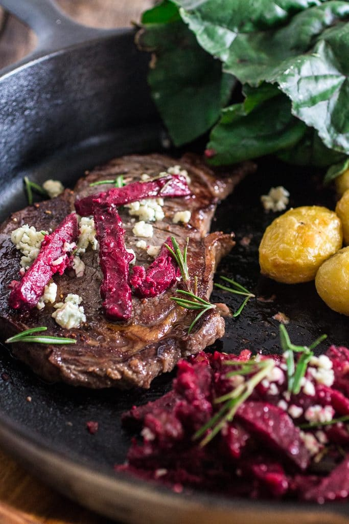 Grilled Steak with Beets and Danish Blue Cheese | www.oliviascuisine.com | What's better than a juicy well seasoned steak cooked to perfection? Accompanied by insanely delicious beets marinated with brown butter, blue cheese, shallots and walnuts.