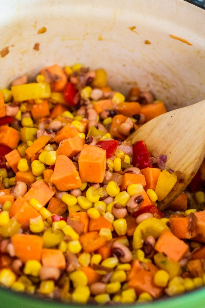 Sweet Potato Chili | www.oliviascuisine.com | A hearty and delicious vegetarian chili made with sweet potatoes, black eyed peas, corn and tomatoes.
