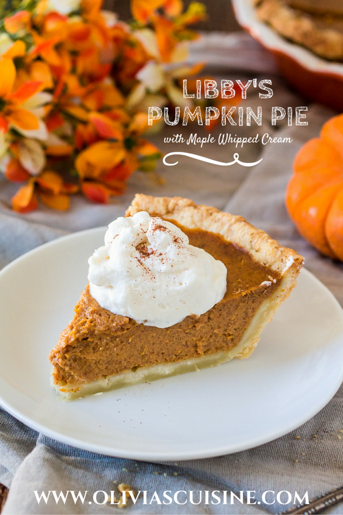 Libby's Pumpkin Pie with Maple Whipped Cream | www.oliviascuisine.com | This traditional recipe for Pumpkin Pie gets a sidekick: Maple whipped cream! Thanksgiving won't be the same without this amazing dessert. @verybestbaking