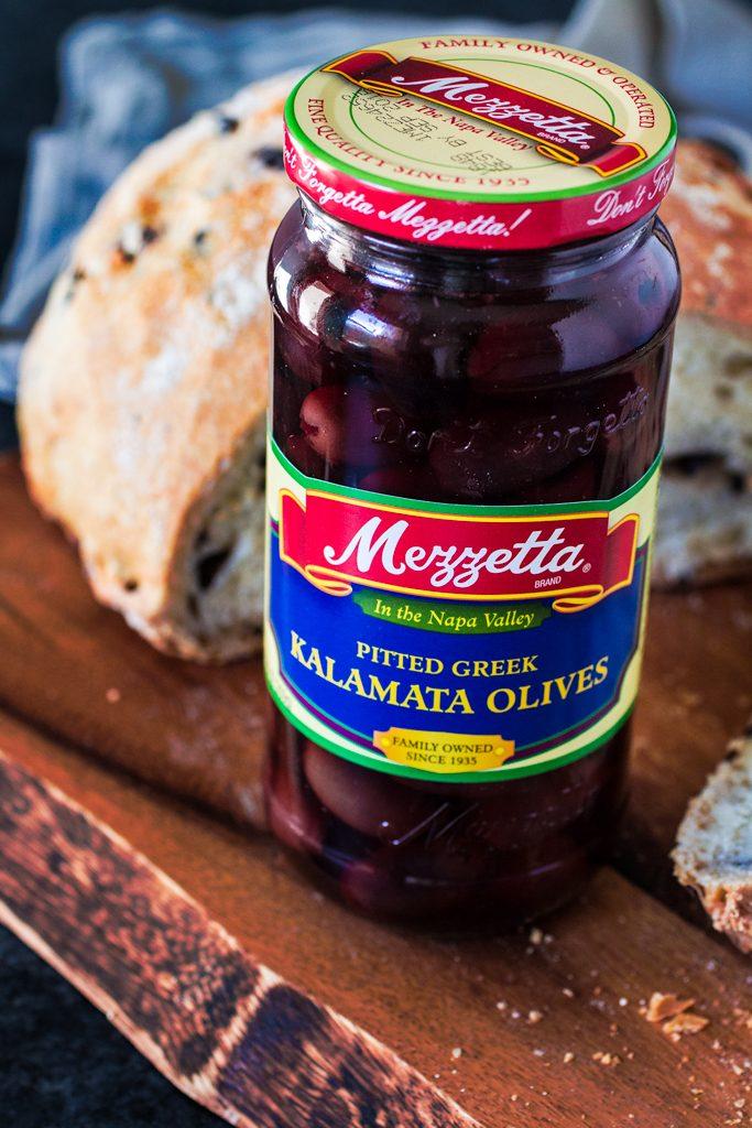 Mediterranean Black Olive Bread   www.oliviascuisine.com   A delicious no-knead crusty bread made with Mezzetta Kalamata Olives! #sponsored