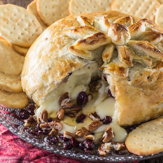 Baked Brie En Croute (with Honey, Cranberries And Pecans