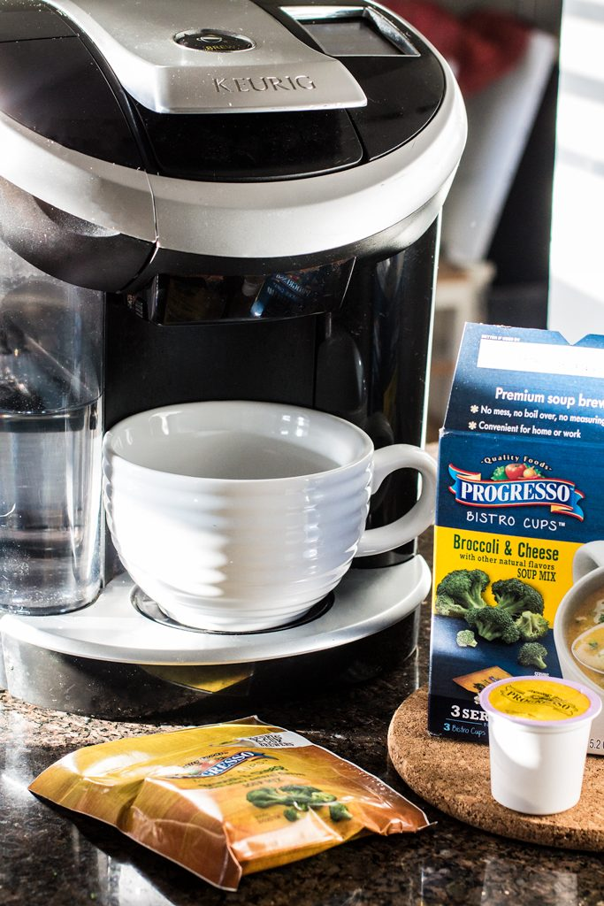 Lunch in a Pinch with Progresso Bistro Cups | www.oliviascuisine.com | Life has been crazy? No time to grab lunch? Think again! Now you can brew your soup at work or at home. 3 delicious flavors: Broccoli & Cheddar, Creamy Tomato & Parmesan and Southwestern-Style Creamy White Bean & Corn. #sponsored