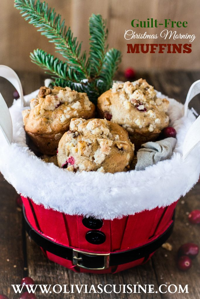 Guilt-Free Christmas Morning Muffins   www.oliviascuisine.com   These muffins are everything you would hope for on a Christmas morning. Moist, fragrant, tasty and loaded with walnuts and fresh cranberries. Also, they are sweetened with Zing™ Baking Blend, so they have reduced calories! #ZingBakingHoliday #sponsored