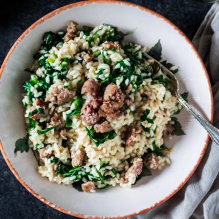 Collard Greens and Italian Sausage Risotto