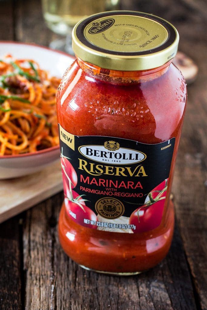 Spaghetti all' Amatriciana | www.oliviascuisine.com | A super easy yet delicious spicy pasta dish featuring diced pancetta, red pepper flakes, basil and Bertolli Riserva Marinara with Parmigiano-Reggiano. #sponsored