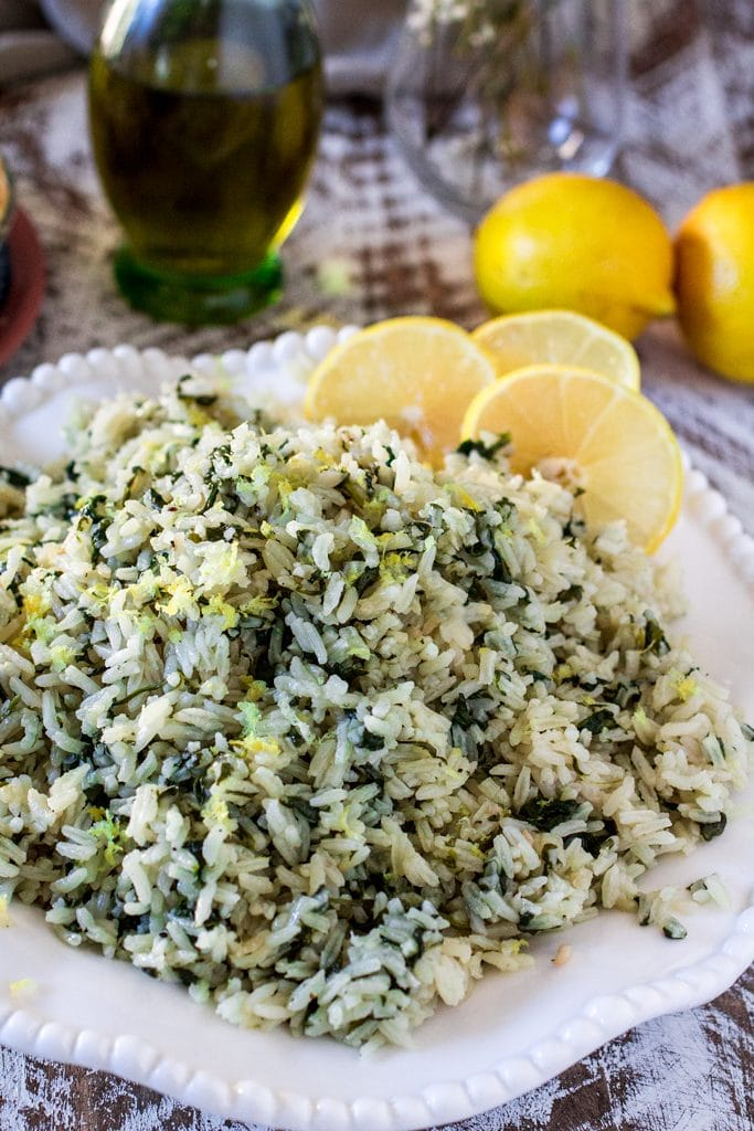 Spanakorizo greek spinach rice olivia 39 s cuisine for Rice dishes with fish