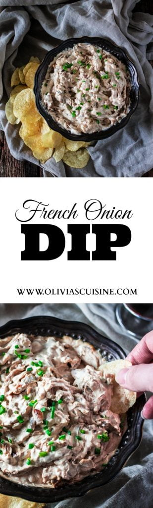 French Onion Dip | www.oliviascuisine.com | Msg 4 21+ Forget the store bought stuff! This French Onion Dip is made from scratch and is super creamy, rich and full of big flavors. Perfect for game day or any party! Even better if you pair it with a glass (or bottle) of Woodbridge Wine. #ad