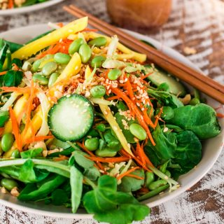 Asian Salad with Sesame Ginger Vinaigrette | www.oliviascuisine.com | Spinach and watercress tossed with carrots, crunchy broccoli stems, mango, cucumbers, edamame, crushed peanuts, sesame seeds and a delicious sesame ginger vinaigrette. Serve with Pagoda egg rolls to make it a meal! #FrozenFromScratch #ad