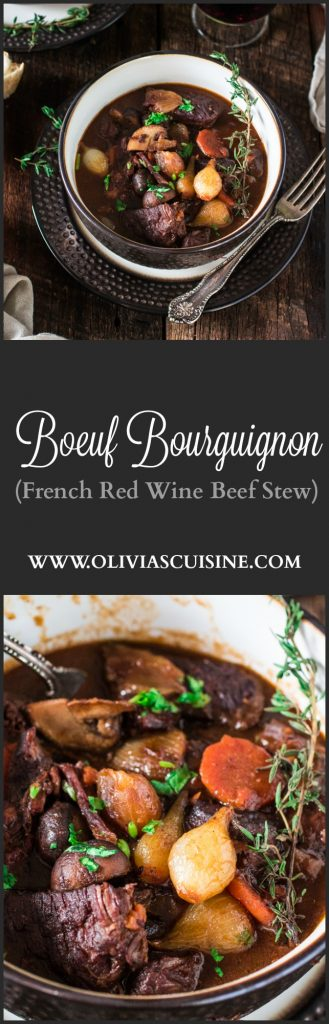 Boeuf Bourguignon | www.oliviascuisine.com | A french classic, this Boeuf Bourguignon - or Beef Burgundy - is one of my favorite beef stews. Made with red wine, mushrooms and pearl onions.