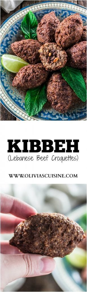 Kibbeh (Lebanese Beef Croquettes) | www.oliviascuisine.com | This Lebanese classic is one of my favorite dishes in the whole world! It consists of a dough made of meat, bulgur (cracked wheat), onions and mint leaves, formed into football shaped croquettes, and filled with more meat, onions, pine nuts and Middle Eastern spices. They are then deep fried to perfection so they are crisp on the outside and soft inside!