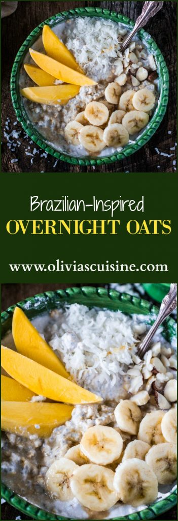 Brazilian-Inspired Overnight Oats | www.oliviascuisine.com | Are you one of those people that is always hitting the snooze button? And then, by the time you do get out of bed, all you have time for is a shower before you run out of the door to make it to work on time? I know the feeling. I used to be a breakfast skipper until I found out about the wonders of a bowl of overnight oats. Better yet if they are fixed with Brazilian inspired flavors, so you can close your eyes and pretend you are eating it on a beach in Rio de Janeiro. #BringYourBestBowl #Target #ad
